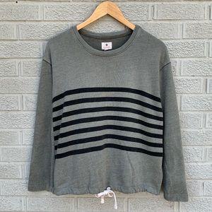 Sundry Drawstring Hem Vintage Striped Sweatshirt